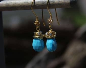 Turquoise, Vermeil, and Sterling Silver Earrings - 6425-47