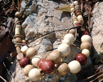 Two Strand Wood Bead Statement Necklace