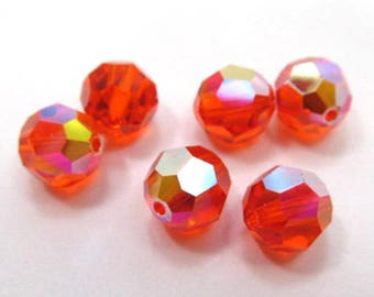 Hyacinth AB Orange Red Swarovski Crystal 8mm Faceted Round Jewelry Beads (6)