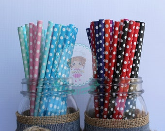 Polka Dots Paper Straws, Cake Pop Straws, Apple Paper Straws, Package of 20