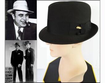 Vintage 1960s Dobbs Fedora Hat | Golden Coach Dobbs Fedora Hat | Charcoal Fedora Hat |  Dobbs Fedora Hat Box | Golden Coach Side Pin | Dobbs