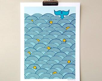 A4 Digital Print Room Decor - Jumping Fish