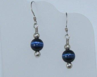 Navy Blue Cat's Eye and Sterling Silver Beaded Earrings, Blue and Silver Earrings, Cats Eye Jewelry, Cat's Eye Earrings,Gift for Her