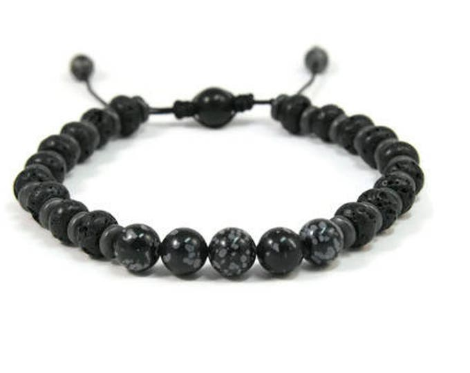Urban Men's Opsidian, Lava & Hematite Pull Tie Single Bracelet. Boho Jewelry. Bohemian Jewelry. Ideas for him. Gift for him.