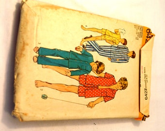 Vintage Simplicity 6427 Young boys & teens pajamas in two lengths button up top elastic waistband pants