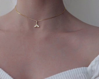 Tale shape necklace silver made gold plated