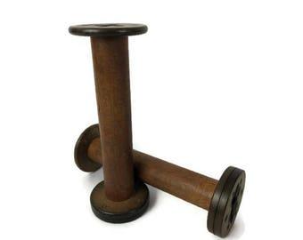 Vintage Wood Industrial Bobbin - Wood Spools - Textile Spools - Bobbin Spool Spindles - Akron Spool