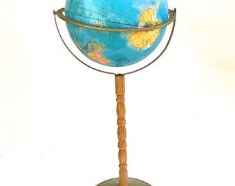 "Vintage 60's Stand Globe~ World Map ~12"" Cram's Imperial Royal Globe~ Vintage classroom decor"