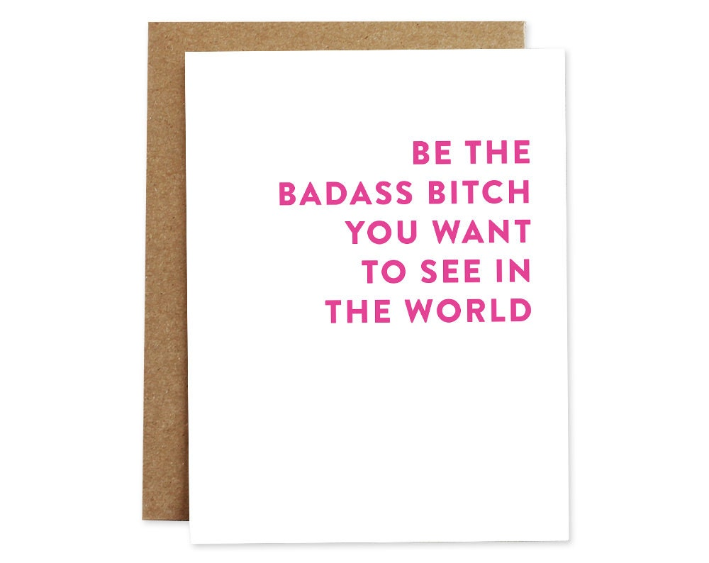 Funny card for friend badass bitch card any occasion card zoom kristyandbryce Images