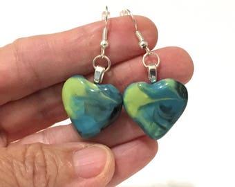 Heart Earrings, Dangle Heart Earrings, Handmade Jewelry, Heart Pottery