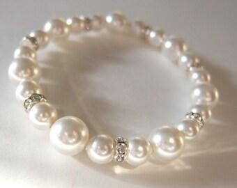 Pearl Bracelet, First Communion Bracelet, Baptism Bracelet, Flower Girl Gift, Junior Bridesmaid Swarovski Pearl & Rhinestone Bracelet B165