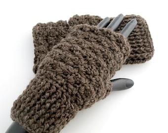 Crocheted Brown Fingerless Gloves. Wool. Mittens.