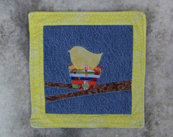 Scrappy Yellow Bird Mug Rug Coaster or Mini Quilt