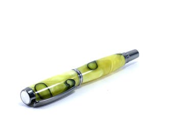 Yellow Acrylic Pen made from Yellow and Black Swirls, Rollerball Pen with Black Titanium Metal | Great Yellow Gift Idea! Unique Pen for Him
