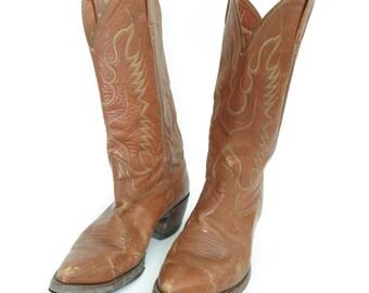Size 8.5 D - Nocona vintage brown leather cowboy boots