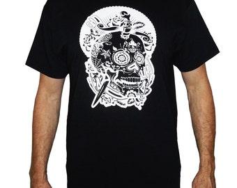 t shirt black Mexican skull screen print