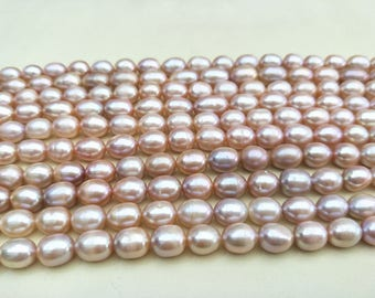 9-10mm purple  rice pearls, Cultured purple freshwater pearls beads,oval loose pearl beads,Cheap rice pearl, Freshwater pearl