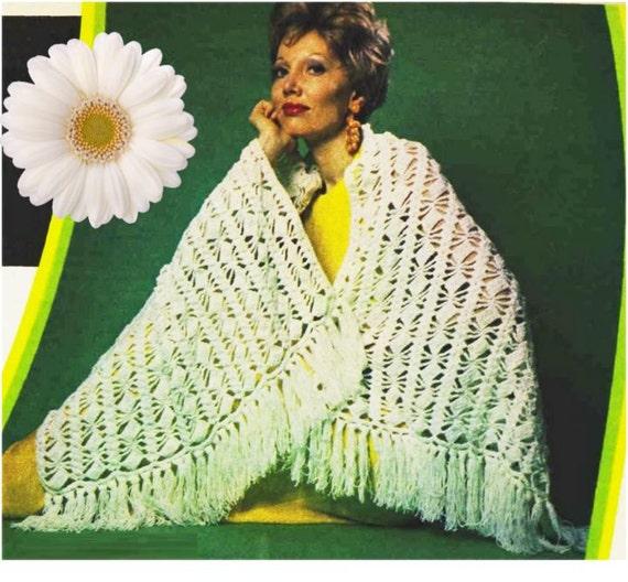Patron 70s pdf de tejido crochet rebozo reboso poncho