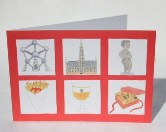 "Postcard ""souvenir of Brussels"" drawn and handmade peitne"