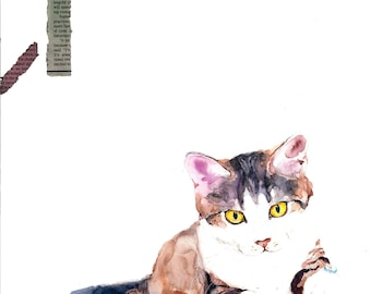 Cat, original watercolor, drawing, painting. decoration, pet. made to order. gift