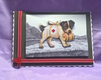 dog get well card with ribbon and wooden button