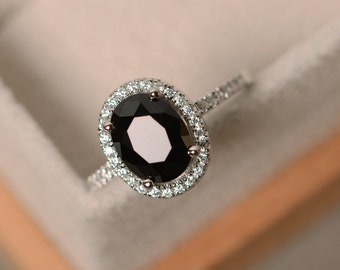 Black spinel ring, oval cut engagement ring, natural spinel ring, black gemstone ring