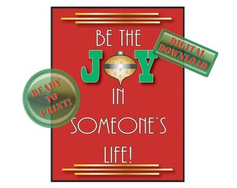 JOY Christmas Printable Be the JOY in Someone's Life Diner Decor Christmas Printable Retro Kitchen Art Holiday Sign Party Table Centerpiece
