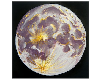 Purple Full Moon Painting | Original acrylic painting | Small Painting | Moon painting | Moon art | Home decor | Wall art | Gift for her