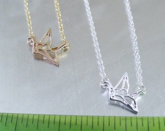 "Small 1/2"" Cut out Origami Crane pendant on 18"" silver (sold out) or gold chain Necklace."