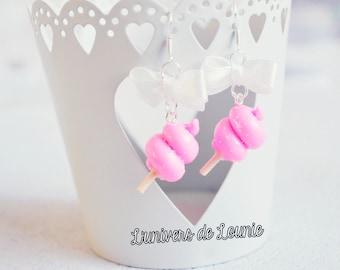 Cotton candy Candy Floss earrings handmade Cute Kawaii