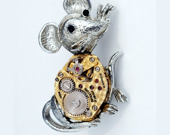 Steampunk Mouse Pin - Rock And Roll Rodent - Disco Mouse - Glam Rock Mouse - Complete Vintage Repurposed Watch Movement Brooch and Lapel Pin