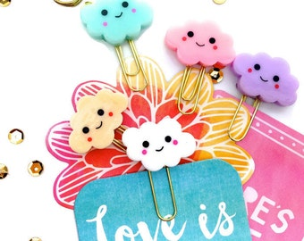 Smiley Clouds Planner Paper Clips Mix | Kawaii Clouds Set of 5. Novelty Resin Paper Clips | Variety Bookmarks - Party Favors. KikkiK Midori