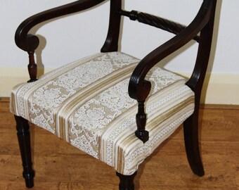 Trafalgar type antique upholstered Regency carver armchair / desk chair