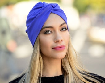 Cobalt Blue Turban Hat Women's Royal Blue Retro Accessory Periwinkle Hair Snood Head Covering Stretch Chemo Hat Beach Coverup Hair Coverup