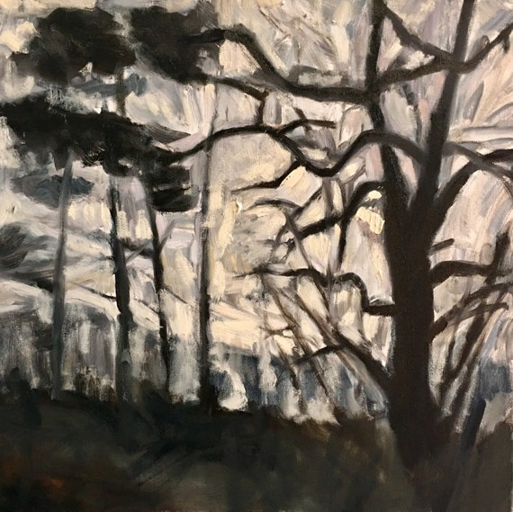"Original Oil Painting: Muscular Trees, 20"" x 20"", original oil painting"