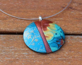 Blue polymer clay jewelry, Modern blue pendant necklace, Polymer clay pendant, Statement jewelry, Art handmade necklace