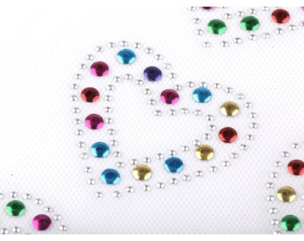 heart multicolor rhinestone to iron