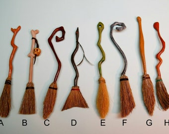 Made To Order Miniature 1:12 Scale Hand Carved Natural Bristle BROOMS Cottage, Witch, Wizard OOAK
