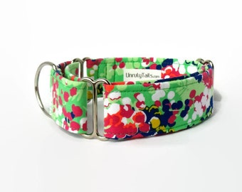 Lime Floral Adjustable Dog Collar - Martingale Collar or Side Release Buckle Collar  - Bright colors on lime green