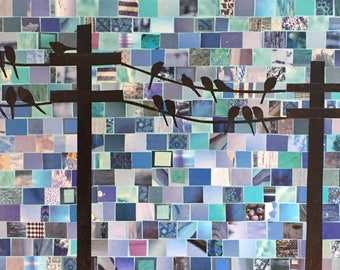 Birds on a Wire #19 - original art - mixed media collage