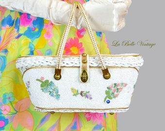 Midas Of Miami Beaded Purse Vintage Floral Rhinestone Applique Handbag