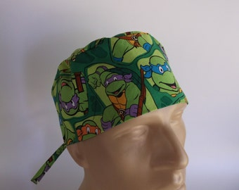 Ninja Turtles -  Men's Surgical Scrub Hat  with sweatband option, scrub cap, bakers hat, 38+6840