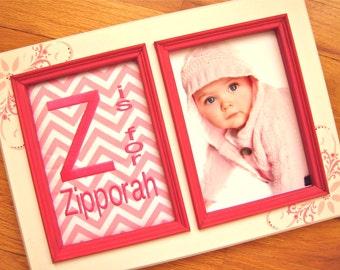 Personalized baby girl 5x7 frame Pink girl room decor Girl name frame Girl birthday gift Baby girl personalized gift Pink zig zag fabric