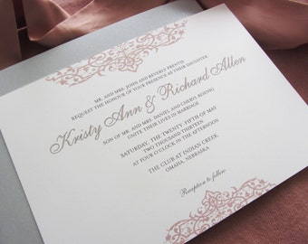 Printable Wedding Invitation - Top Bottom Flourish