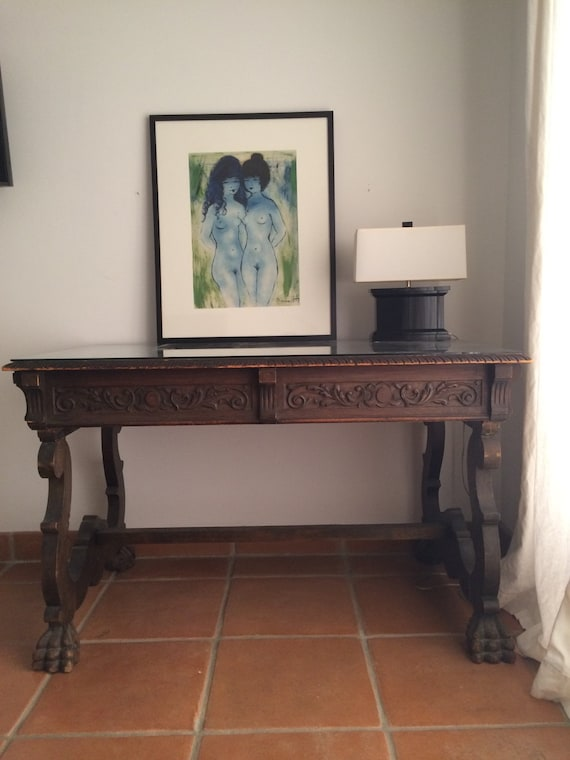 Spanish antique wood scrolled writing desk or entry table