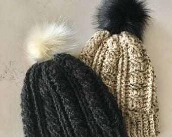 Crocheted Cable Beanie With Pom