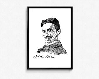 Tesla Art Print - Scientist Nikola Tesla Portrait Ink Drawing - Science Poster (Physics) - Wall Decor