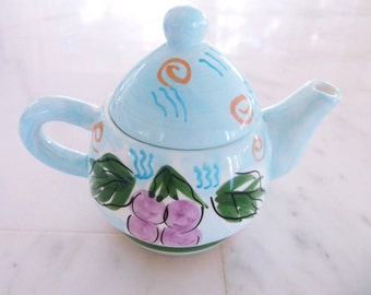 Vintage Bella Casa by Ganz teapot blue colorful floral pattern design