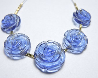 5 Pcs Very Attractive Iolite Quartz Hand Carved Rose Flower Shaped Beads Size 17X17 - 13X13 MM