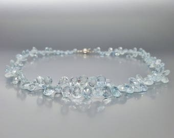 Stunning Aquamarine drop necklace with Sterling silver clasp- beautiful light blue drops - gift idea - special cut necklace - high quality